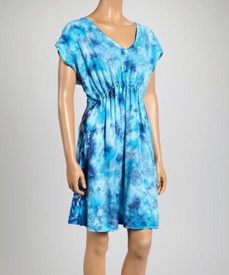 Turquoise & Navy Cap Sleeve Dress