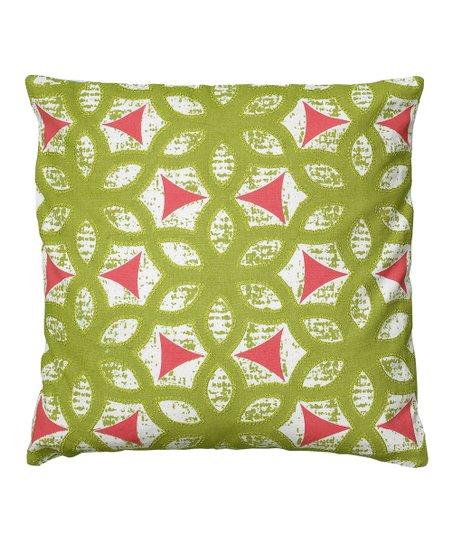 Lime & Fuchsia Floral Geometric Throw Pillow