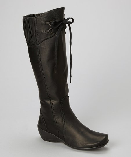 Black Leather Enya Knee-High Boot