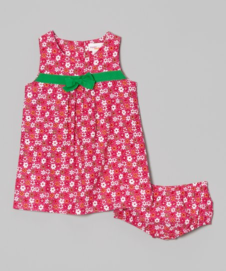 Hot Pink Floral Pleat Front Dress & Bloomers - Infant