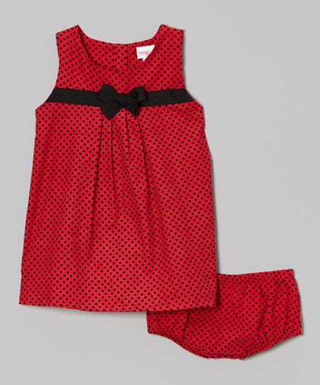 Pink & Black Polka Dot Pleat Front Dress & Bloomers - Infant