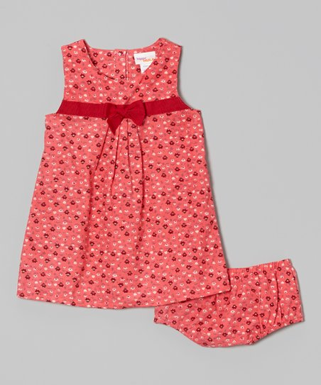Hot Pink Flower Pleat Front Dress & Bloomers - Infant