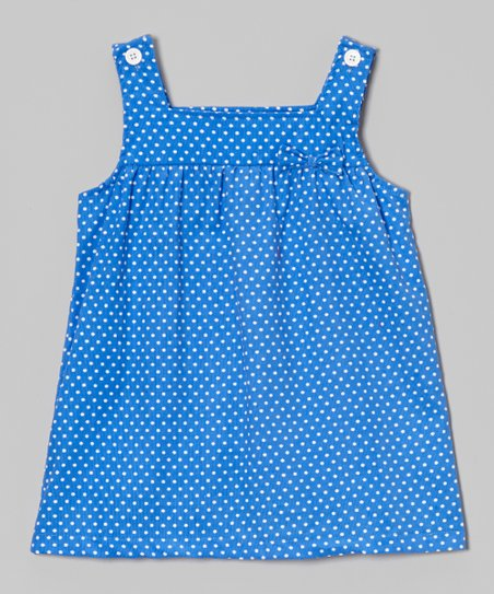Light Blue & White Polka Dot Bow Jumper - Infant