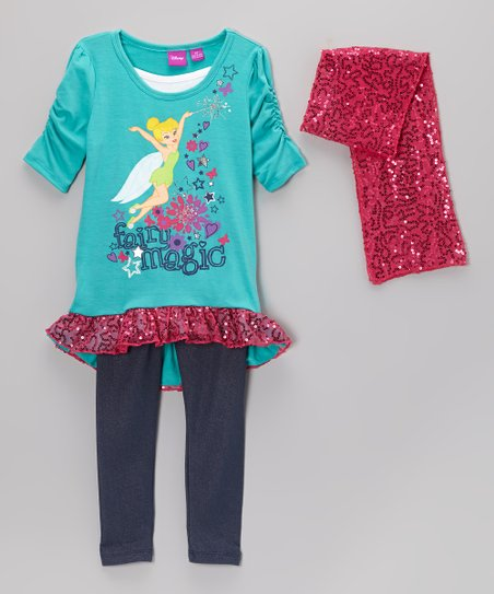 Turquoise & Pink 'Fairy Magic' Sequin Leggings Set - Toddler