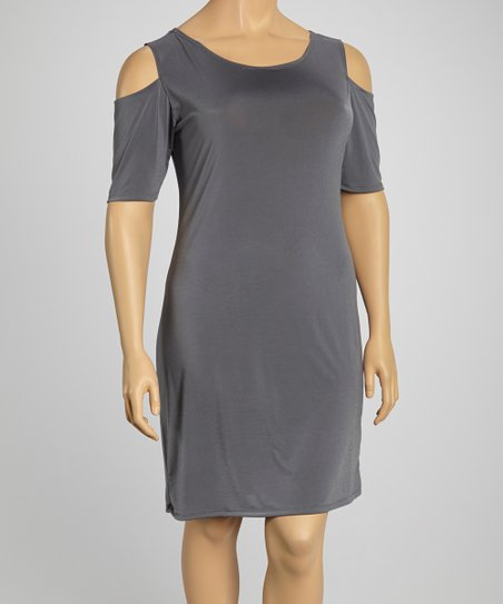 Gray Cutout T-Shirt Dress - Plus