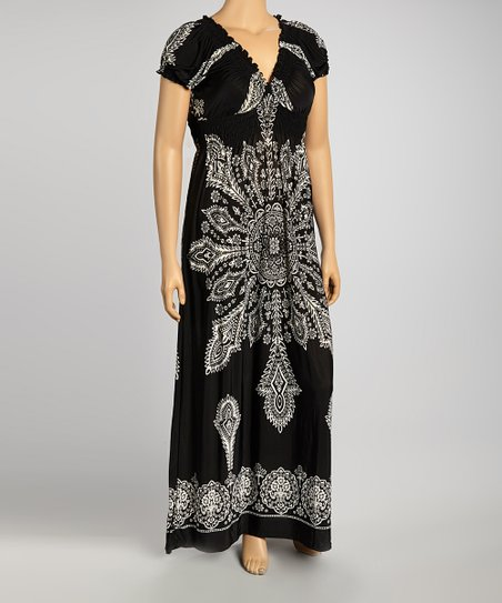 Black Shirred Cap-Sleeve Maxi Dress