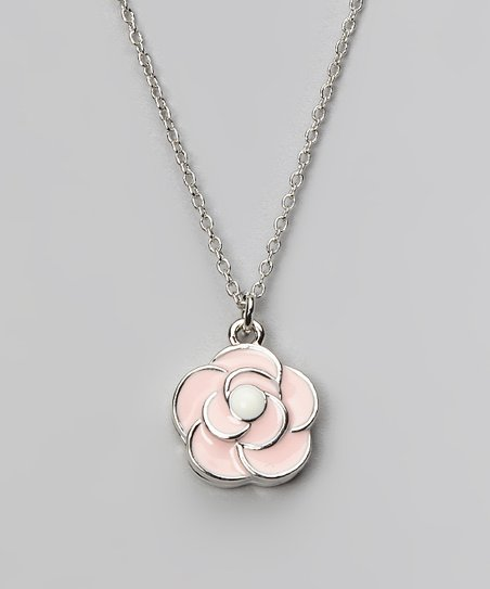 Pink & Silver Flower Pendant Necklace