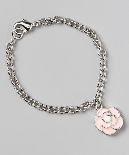 Pink & Silver Flower Charm Bracelet