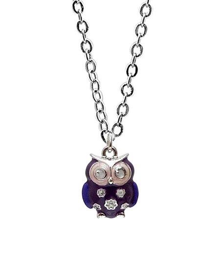 Purple & Silver Owl Pendant Necklace
