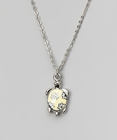 Yellow & Silver Turtle Necklace
