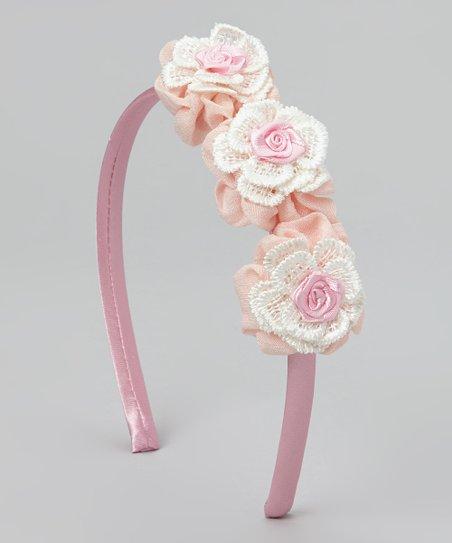 Pink & White Flower Lace Headband