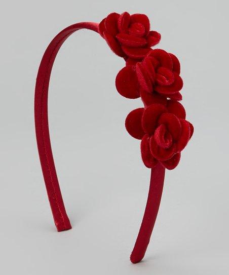 Red Flower Velvet Headband