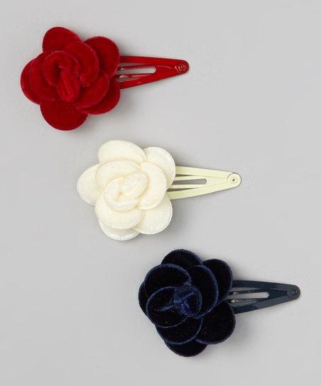 Red, Cream & Navy Blue Flower Velvet Clip Set