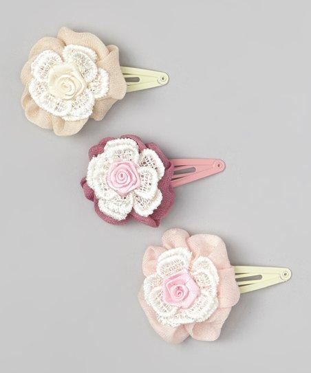 Pink, Cream & Burgundy Flower Lace Clip Set