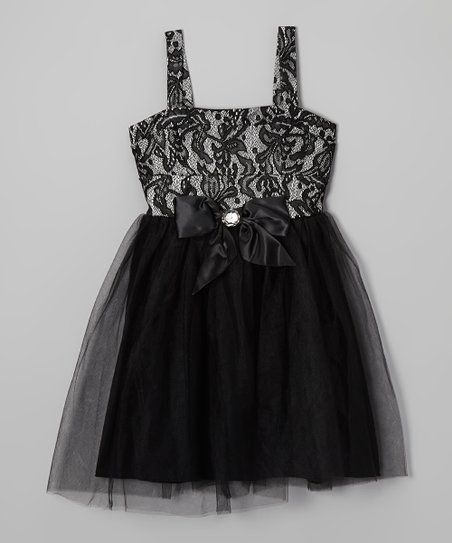 Ivory & Black Lace Tulle Dress