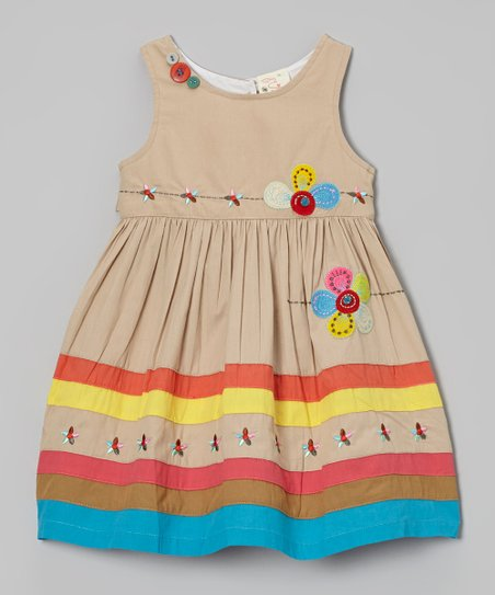 Khaki Flower Appliqué Dress - Infant, Toddler & Girls