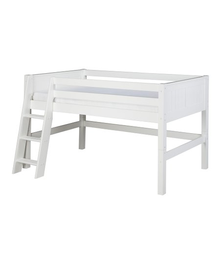 White Panel Low Loft Bed