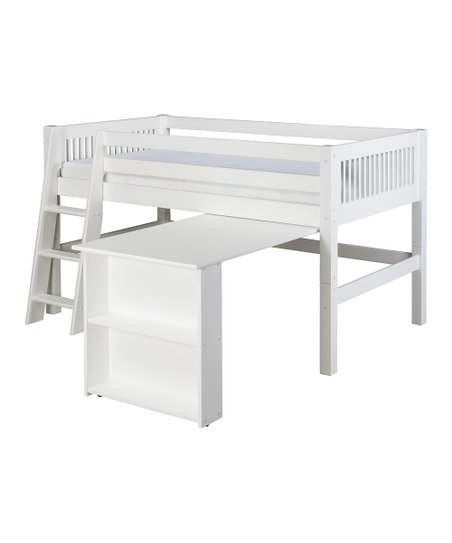 White Mission Low Loft Bed & Desk