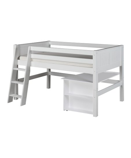 White Panel Low Loft Bed & Desk