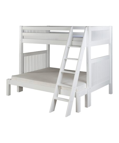 White Mission Angle Ladder Twin & Full Bunk Bed