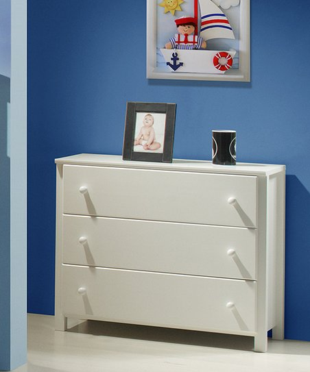 White Three-Drawer Dresser