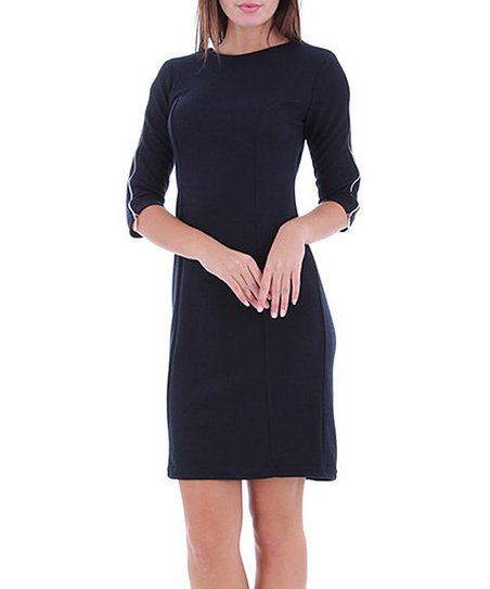 Navy Zipper Knit Dress