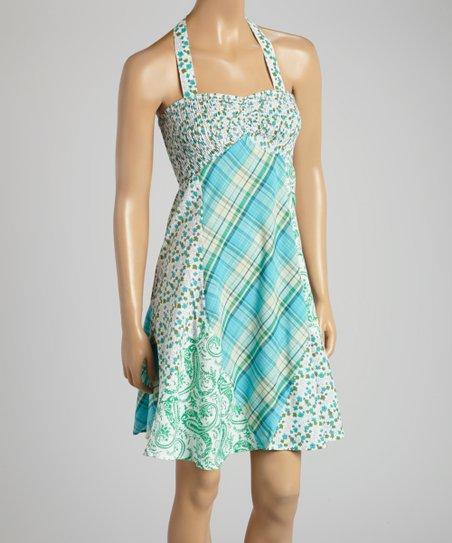 Green Paisley & Plaid Shirred Halter Dress - Women