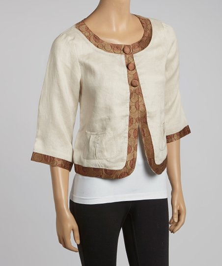 Natural Frinda Linen Jacket - Women