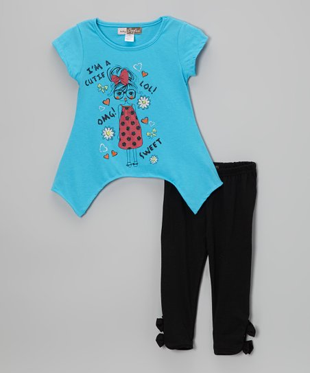 Blue Chic Girl Sidetail Tee & Black Leggings - Toddler
