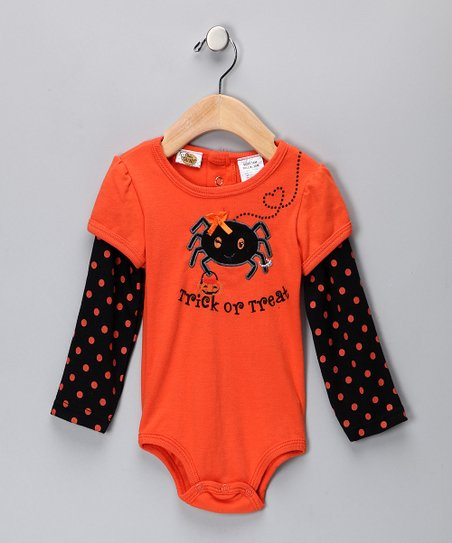 Orange & Black 'Trick or Treat' Bodysuit