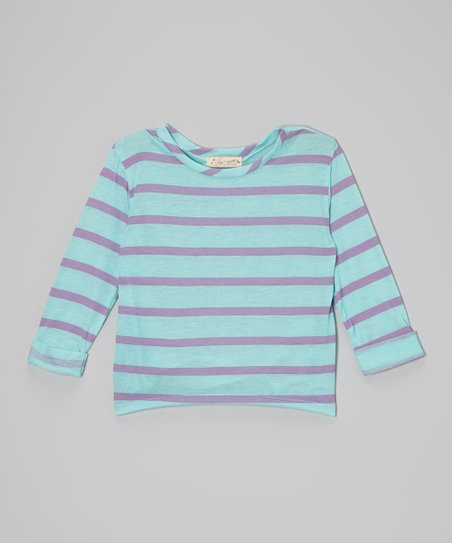 Turquoise & Purple Stripe Roll-Sleeve Tee - Girls