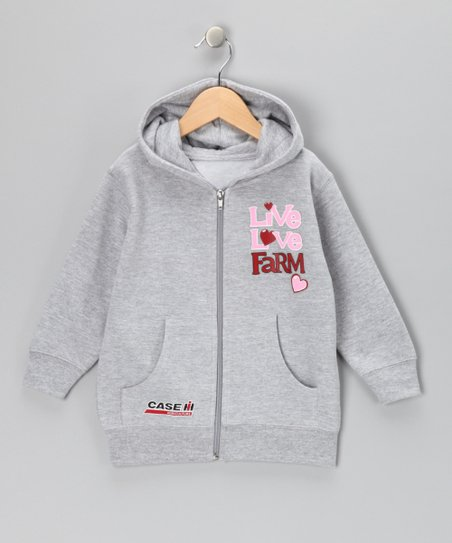 Athletic Heather 'Live Love Farm' Zip-Up Hoodie - Toddler & Girls