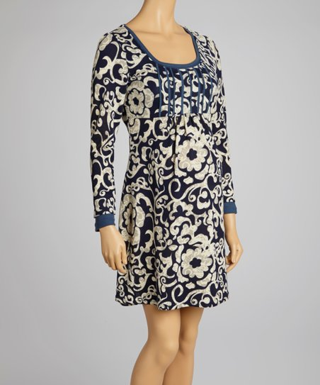 Navy Floral Maternity Scoop Neck Dress