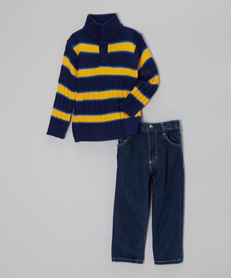 Blue & Yellow Stripe Sweater & Jeans - Infant, Toddler & Boys