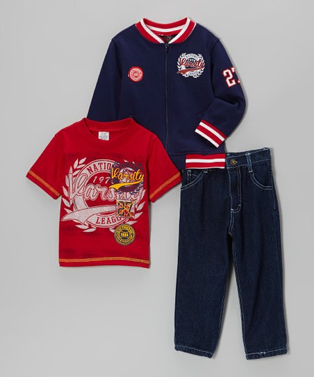 Red & Navy Zip-Up Jacket Set - Infant & Toddler
