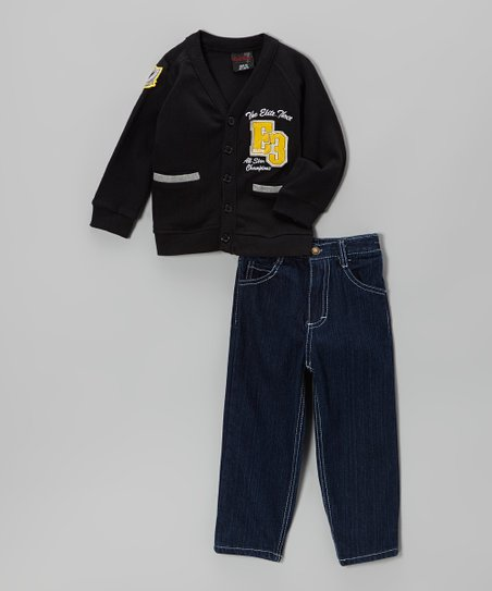 Black Fleece Cardigan & Jeans - Infant, Toddler & Boys