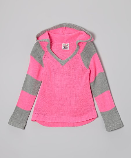 Pink & Gray Stripe Hoodie - Toddler & Girls