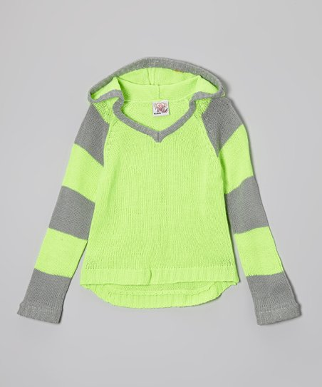 Lime & Gray Stripe Hoodie - Toddler & Girls