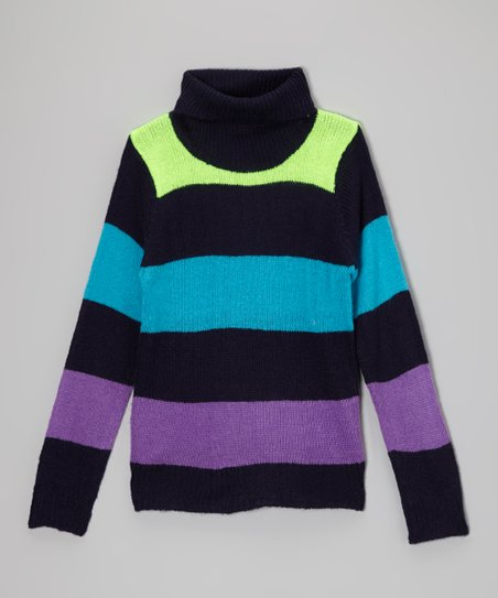 Black Stripe Turtleneck - Toddler & Girls