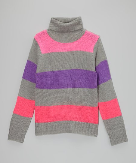 Gray Stripe Turtleneck - Toddler & Girls