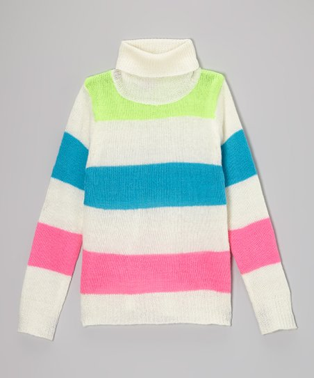 White Stripe Turtleneck - Toddler & Girls