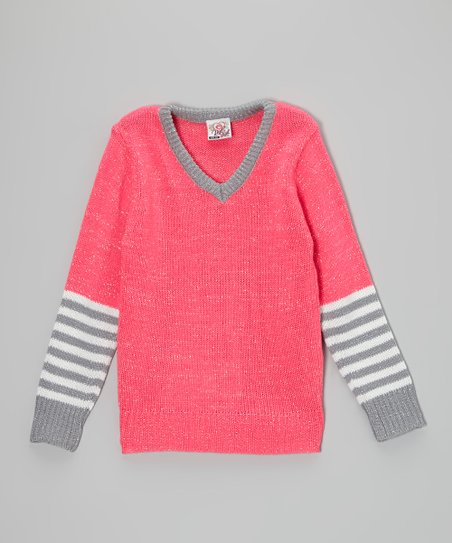 Pink Stripe V-Neck Sweater - Toddler & Girls