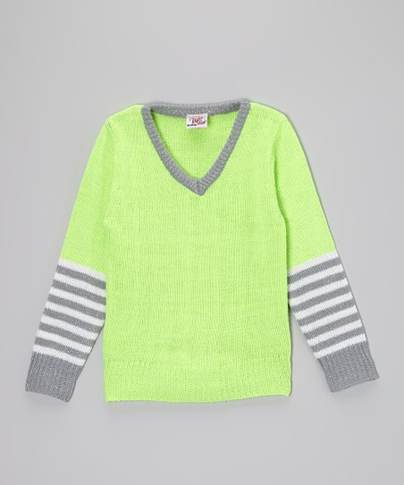 Lime Stripe V-Neck Sweater - Toddler & Girls