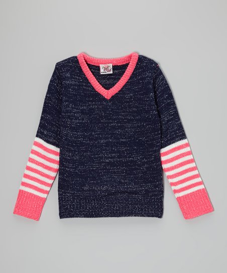 Navy Stripe V-Neck Sweater - Toddler & Girls