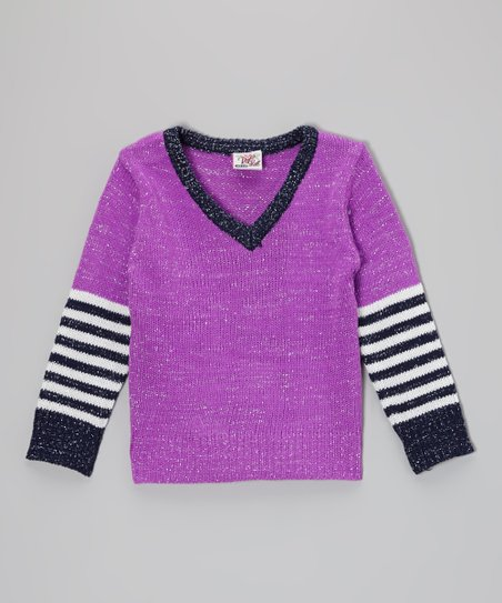 Purple Stripe V-Neck Sweater - Toddler & Girls