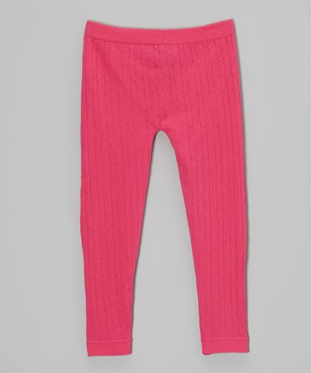 Fuchsia Cable-Knit Leggings - Toddler & Girls
