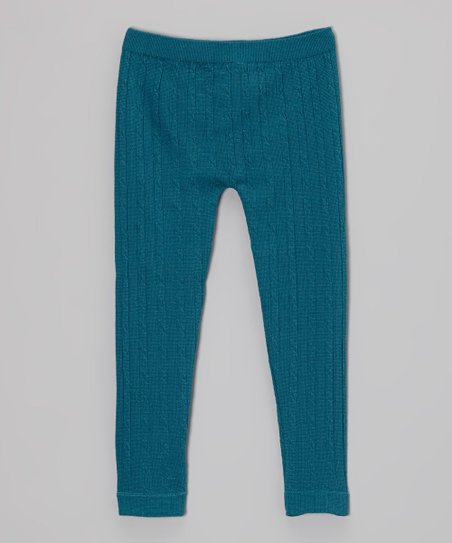 Teal Cable-Knit Leggings - Toddler & Girls