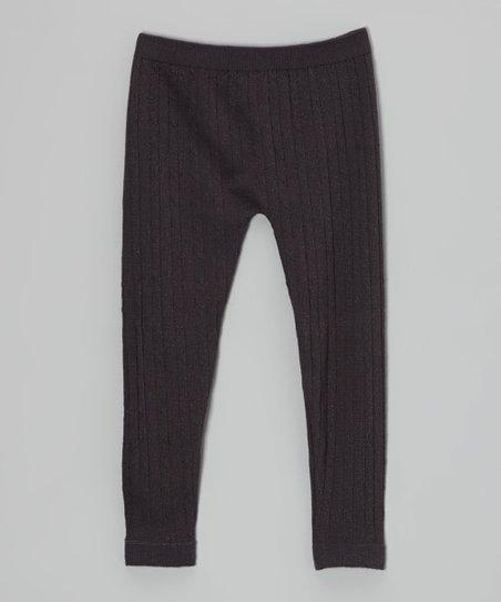 Charcoal Cable-Knit Leggings - Toddler & Girls