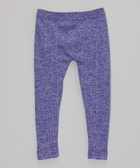 Purple Ribbed Leggings - Toddler & Girls