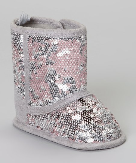 Silver & Pink Sequin Boot